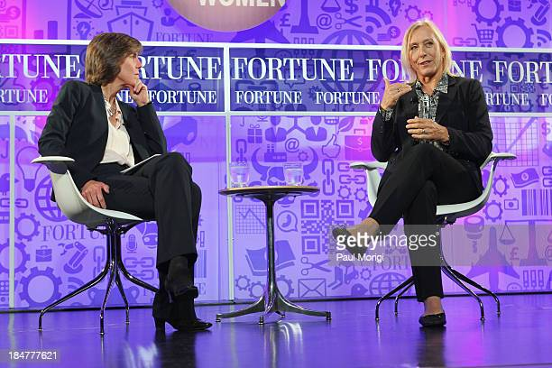 Patricia Sellers and tennis player Martina Navratilova speak onstage at the FORTUNE Most Powerful Women Summit on October 16 2013 in Washington DC
