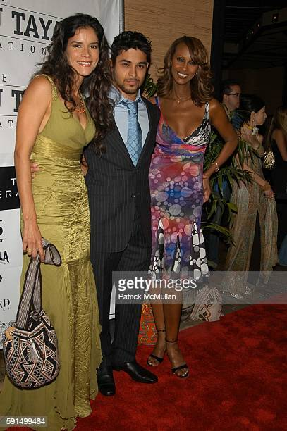 Patricia Velasquez Wilmer Valderrama and Iman attend Wayuu Taya Foundation Dinner at Tribeca Grand Hotel NYC USA on June 20 2005