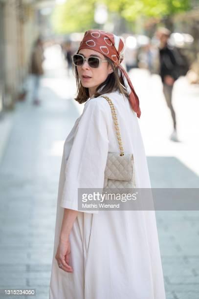 Patricia Wirschke, fashion blogger, art historian and CEO of high10art is seen wearing Vintage Celine scarf, esprit Sunglasses, channel handbag on...