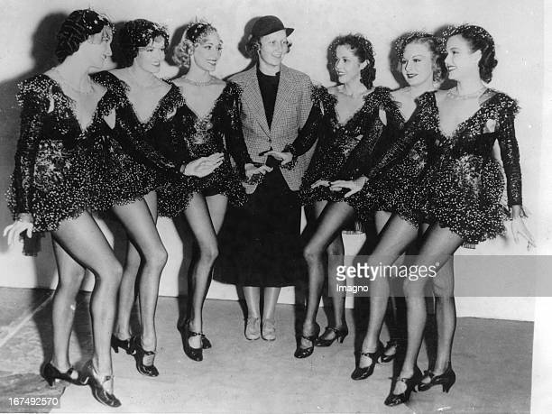 Patricia Ziegfeld with six dancers who will take part in one of her new films Left to right Margaret Davis Ruth Riley Rae Templeton Patricia Ziegfeld...