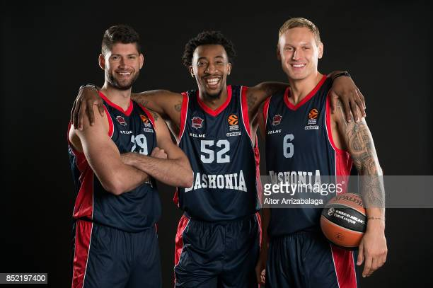 Patricio Garino #29 Jordan McRae #52 and Janis Timma #6 poses during Baskonia Vitoria Gasteiz 2017/2018 Turkish Airlines EuroLeague Media Day at...