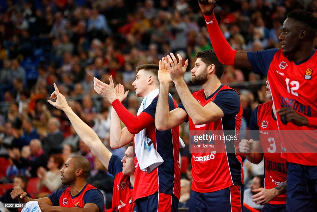 Patricio Garino, #29 of Baskonia Vitoria Gasteiz celebrates during the 2017/2018 Turkish Airlines EuroLeague Regular Season Round 24 game between Baskonia Vitoria Gasteiz and Khimki Moscow Region at Fernando Buesa Arena on March 1, 2018 in Vitoria-Gasteiz, Spain.