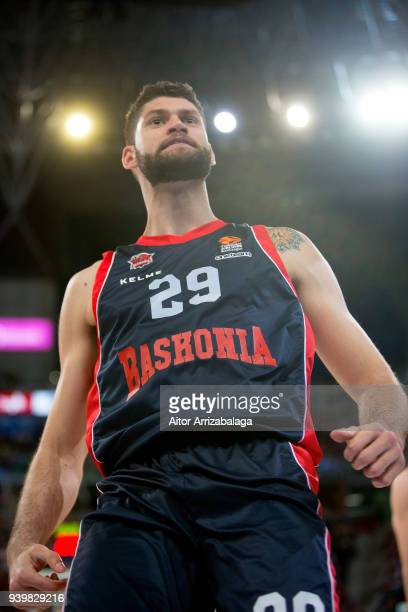 Patricio Garino #29 of Baskonia Vitoria Gasteiz celebrates during the 2017/2018 Turkish Airlines EuroLeague Regular Season Round 29 game between...
