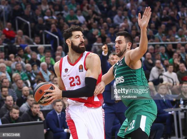 Patricio Garino #29 of Baskonia Vitoria Gasteiz competes with Vasilije Micic #22 of Zalgiris Kaunas in action during the 2017/2018 Turkish Airlines...