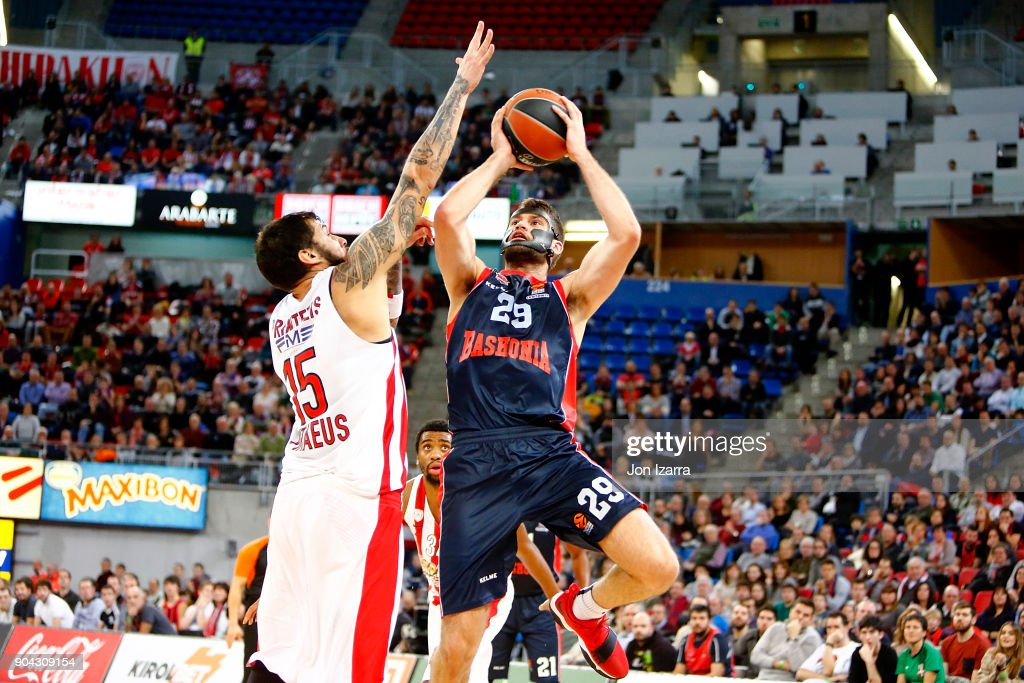 Patricio Garino, #29 of Baskonia Vitoria Gasteiz in action during the 2017/2018 Turkish Airlines EuroLeague Regular Season Round 17 game between Baskonia Vitoria Gasteiz and Olympiacos Piraeus at Fernando Buesa Arena on January 12, 2018 in Vitoria-Gasteiz, Spain.