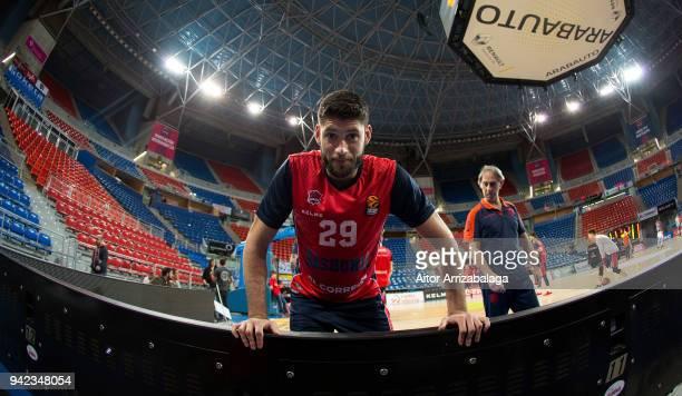 Patricio Garino #29 of Baskonia Vitoria Gasteiz warming up before the 2017/2018 Turkish Airlines EuroLeague Regular Season Round 30 game between...