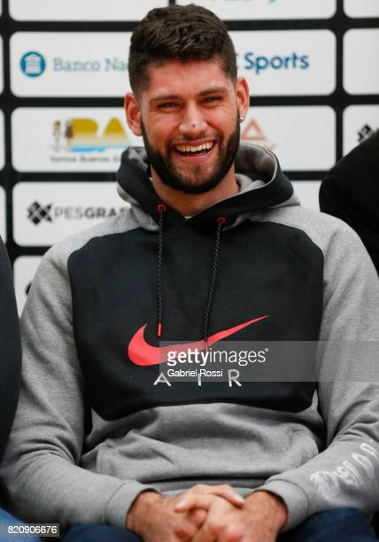 Patricio Garino of Orlando Magic smiles during the 20th Liga Nacional AllStar Game Launch at Roberto Pando Sports Center of San Lorenzo on July 22...