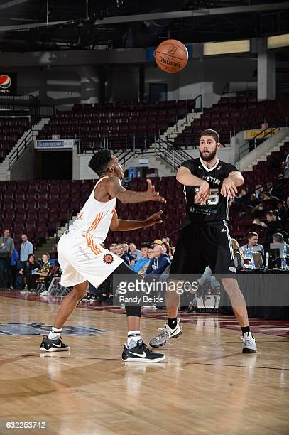 Patricio Garino of the Austin Spurs passes the ball during the game against the Northern Arizona Suns as part of 2017 NBA DLeague Showcase at the...