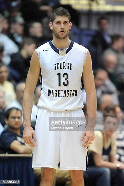 Patricio Garino of the George Washington Colonials looks on during a college basketball game against the Fordham Rams at the Smith Center on January...