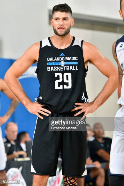Patricio Garino of the Orlando Magic looks on during the game against the Indiana Pacers during the 2017 Orlando Summer League on July 1 2017 at...