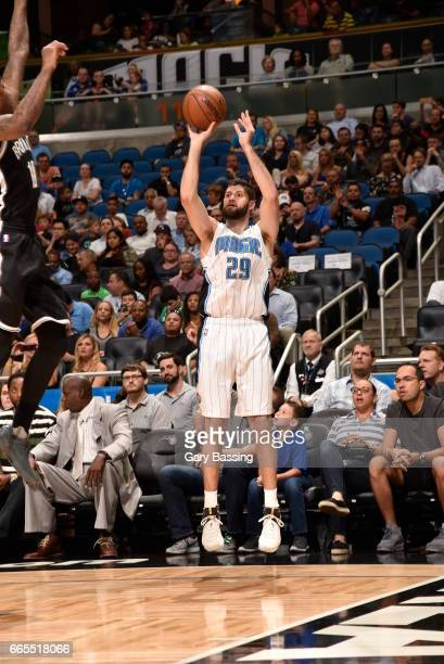 Patricio Garino of the Orlando Magic shoots the ball against the Brooklyn Nets during the game on April 6 2017 at Amway Center in Orlando Florida...