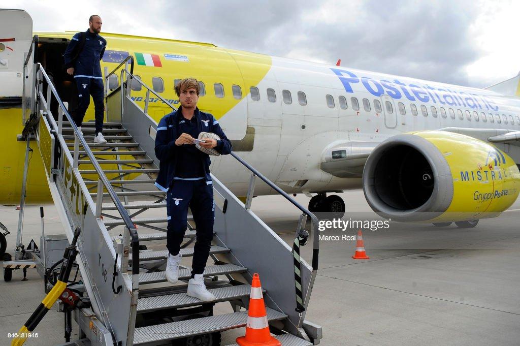 Patricio Gil Gabarron disembarks the plane as SS Lazio travel to Arnhem ahead of their UEFA Europa League match against Vitesse Arnhem on September 13, 2017 in Arnhem, Netherlands.