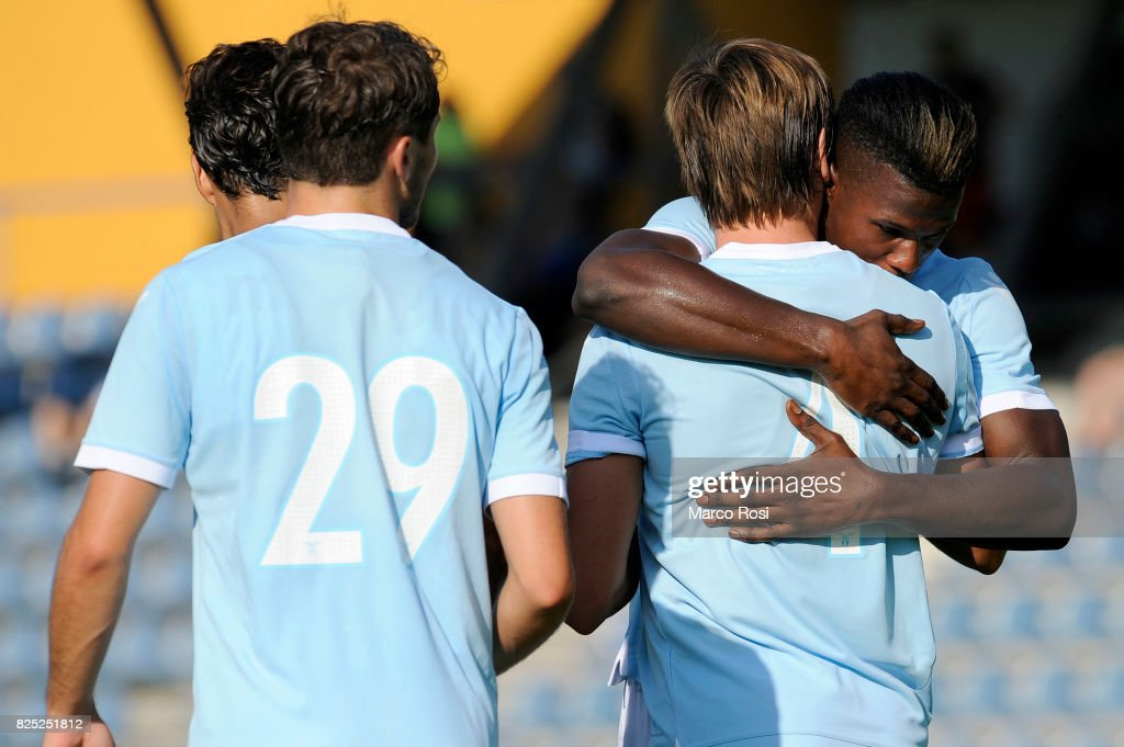 Patricio Gil Gabarron of SS Lazio celebrates a goal with his team mate during the pre-season friendly match between SS Lazio and F.C Kufstein on August 1, 2017 in Kufstein, Austria.