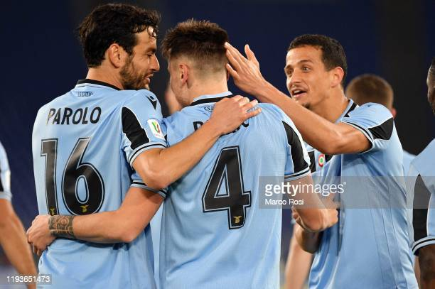Patricio Gil Gabarron of SS Lazio celebrates an opening goal with his team mates during the Coppa Italia match between SS Lazio and US Cremonese at...