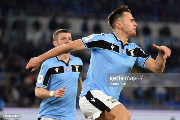 Patricio Gil Gabarron of SS Lazio celebrates the opening goal with his team mates during the Coppa Italia match between SS Lazio and US Cremonese at...