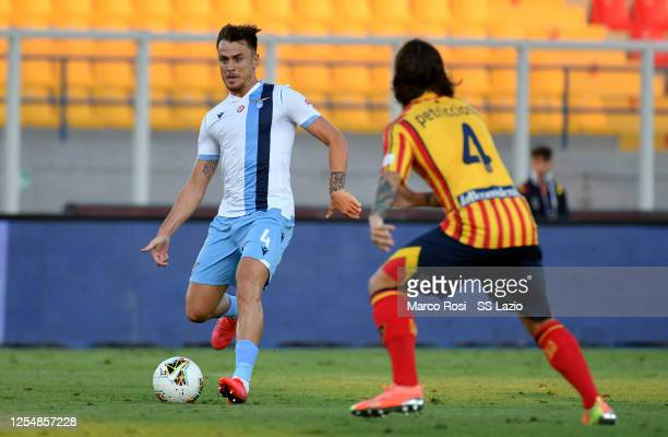 Patricio Gil Gabarron of SS Lazio in action during the Serie A match between US Lecce and SS Lazio at Stadio Via del Mare on July 07 2020 in Lecce...