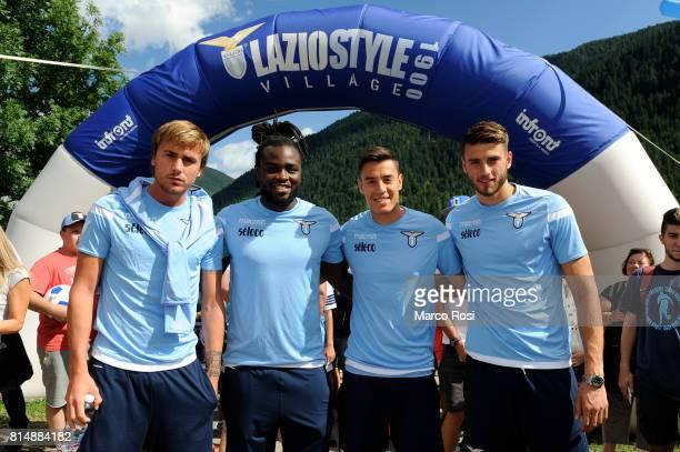 Patricio Gil GabarronJordan Lukaku Wesley Hoedt and Chris Oikonomidis of SS Lazio during the to visit Lazio Style Village on July 15 2017 in Pieve di...