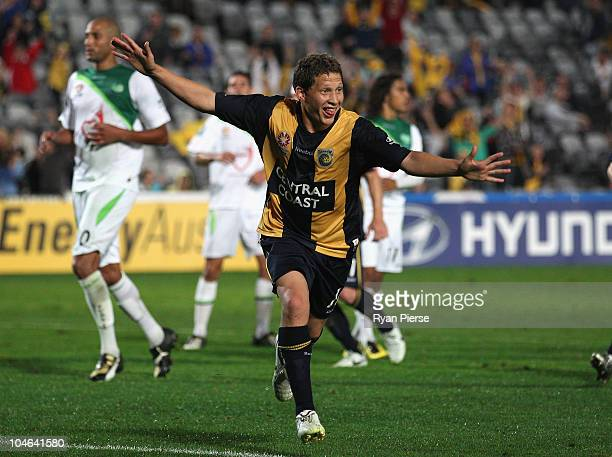 Patricio Perez of the Mariners celebrates after he scored his teams second goal during the round nine ALeague match between the Central Coast...