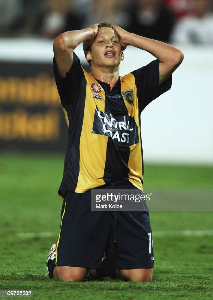 Patricio Perez of the Mariners reacts after a missed shot on goal during the ALeague Preliminary Final match between the Central Coast Mariners and...