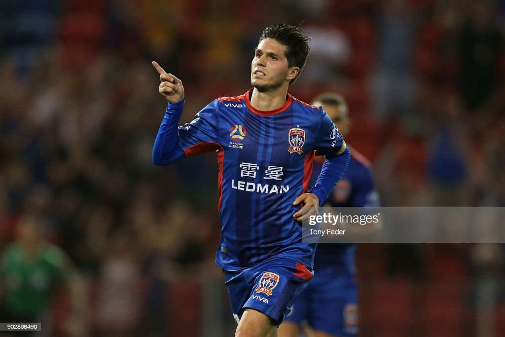 Patricio Rodriguez of the Jets celebrates a goal during the round 15 A-League match between the Newcastle Jets and the Central Coast Mariners at McDonald Jones Stadium on January 9, 2018 in Newcastle, Australia.