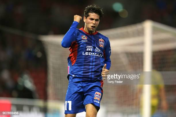 Patricio Rodriguez of the Jets celebrates a goal during the round 15 ALeague match between the Newcastle Jets and the Central Coast Mariners at...