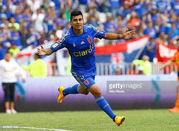 Patricio Rubio of U de Chile celebrates after scoring his team's second goal during a match between Cobreloa and U de Chile as part of round 14 of...