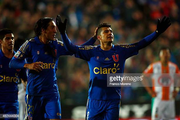 Patricio Rubio of U de Chile celebrates his teams third goal during a match between U de Chile and Cobresal as a part of first round of Torneo...