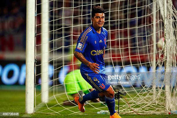 Patricio Rubio of Universidad de Chile celebrates after scoring the the second goal of his team during a match between U de Chile and San Marcos de...