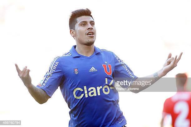 Patricio Rubio of Universidad de Chile celebrates the second goal against Ñublense during a match between Nublense and Universidad de Chile as a part...