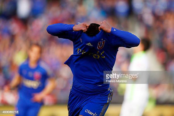 Patricio Rubio of Universidad de Chile celebrates the third goal of his team during a match between U de Chile and Wanderers as a part of third round...
