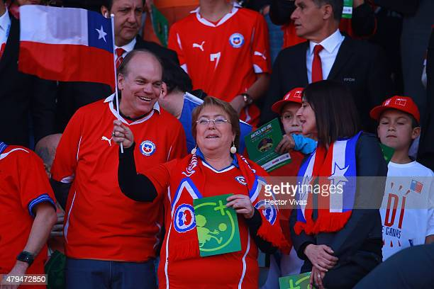 Patricio Walker Prieto Chilean senator Michelle Bachelet President of Chile and Natalia Riffo Chilean Minister of Sport are seen in the tribuen...