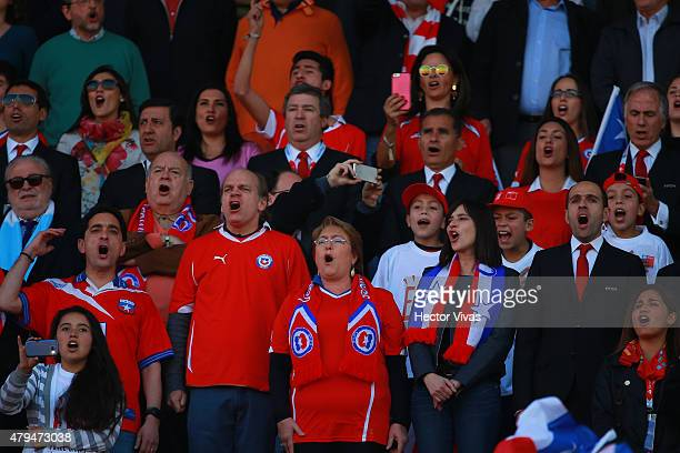 Patricio Walker Prieto Chilean senator Michelle Bachelet President of Chile Natalia Riffo Chilean Minister of Sport and Sergio Jadue President of the...