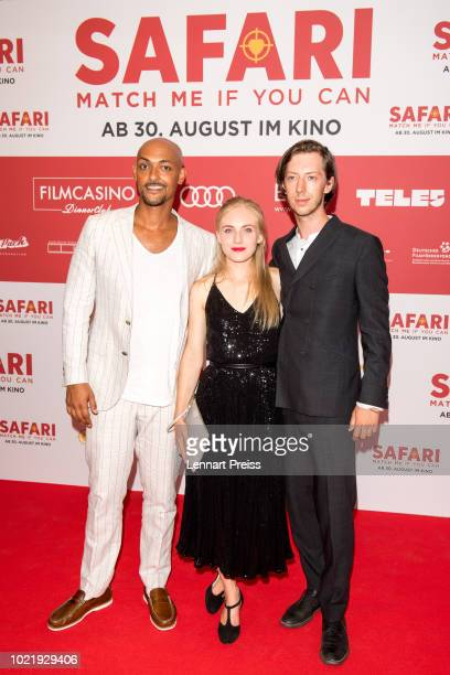 Patrick Abozen , Elisa Schlott and Max Mauff attend the premiere of 'Safari - Match Me If You Can' at Mathaeser Filmpalast on August 23, 2018 in...