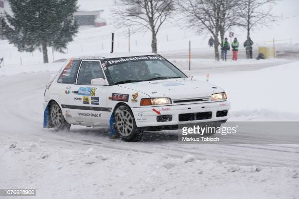Patrick Affenzeller of Austria and Stefan Preifalk of Austria in their Mazda 323 BF Turbo 4WD during the Jaenner Rallye at Freistadt on January 3...
