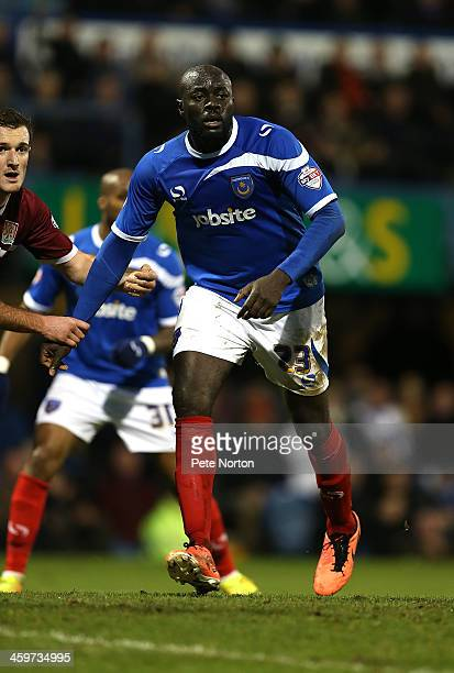 Patrick Agyemang of Portsmouth in action during the Sky Bet League Two match between Portsmouth and Northampton Town at Fratton Park on December 29...
