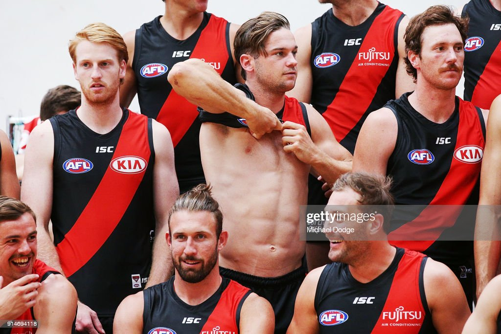 Patrick Ambrose of the Bombers gets prepared during an Essendon Bombers team photo session at The Hangar on February 6, 2018 in Melbourne, Australia.