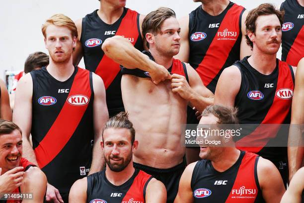 Patrick Ambrose of the Bombers gets prepared during an Essendon Bombers team photo session at The Hangar on February 6 2018 in Melbourne Australia