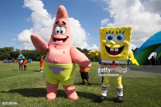 Patrick and Spongebob take part in the Worldwide Day of Play on July 26 2017 in Washington DC