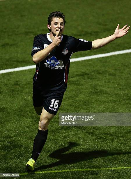 Patrick Antelmi of Blacktown celebrates scoring a goal during the FFA Cup round of 32 match between Blacktown City and Sydney United 58 FC at Lilly's...