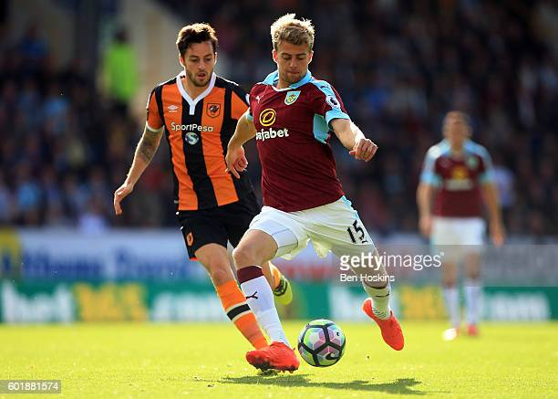Patrick Bamford of Burnley shoots during the Premier League match between Burnley and Hull City at Turf Moor on September 10 2016 in Burnley England