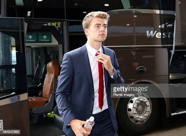 Patrick Bamford of Crystal Palace arrives at King Power Stadium the Barclays Premier League match between Leicester City and Crystal Palace at the...