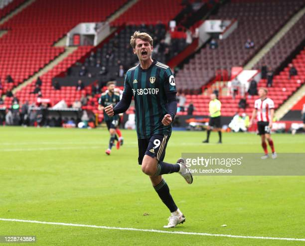 Patrick Bamford of Leeds celebrates after scoring the only goal of the match during the Premier League match between Sheffield United and Leeds...