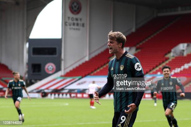 Patrick Bamford of Leeds celebrates scoring the only goal of the match during the Premier League match between Sheffield United and Leeds United at...