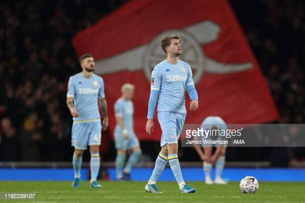 Patrick Bamford of Leeds United and teammates dejected after Reiss Nelson of Arsenal scored a goal to make it 10 during the FA Cup Third Round match...