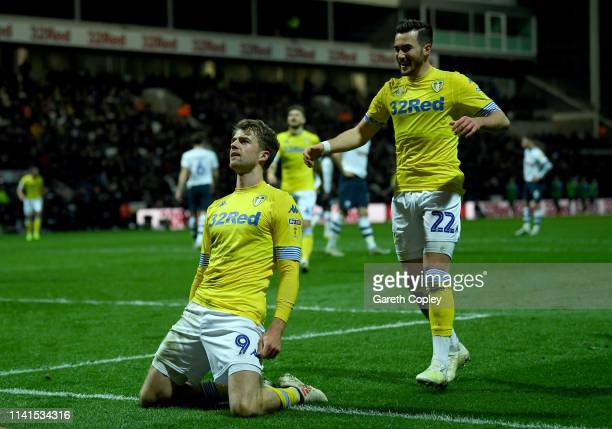 Patrick Bamford of Leeds United celebrates after he scores the opening goal during the Sky Bet Championship match between Preston North End and Leeds...