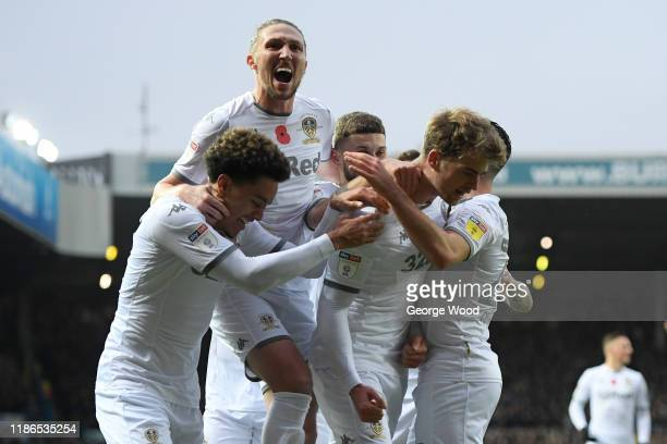 Patrick Bamford of Leeds United celebrates after scoring his sides first goal with his team mates during the Sky Bet Championship match between Leeds...
