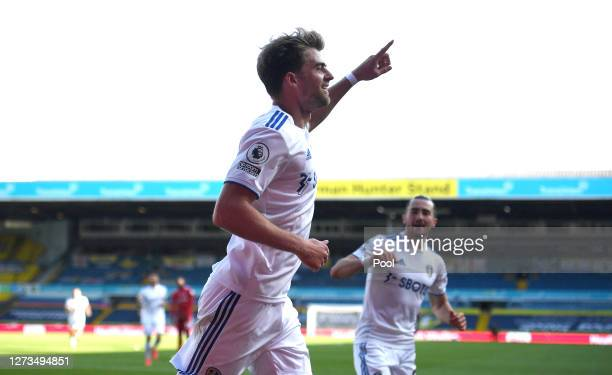 Patrick Bamford of Leeds United celebrates after scoring his teams 3rd goal during the Premier League match between Leeds United and Fulham at Elland...