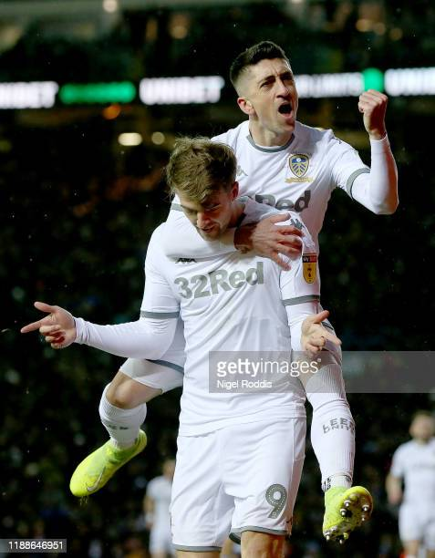 Patrick Bamford of Leeds United celebrates after scoring the second goal of his team during the Sky Bet Championship match between Leeds United and...