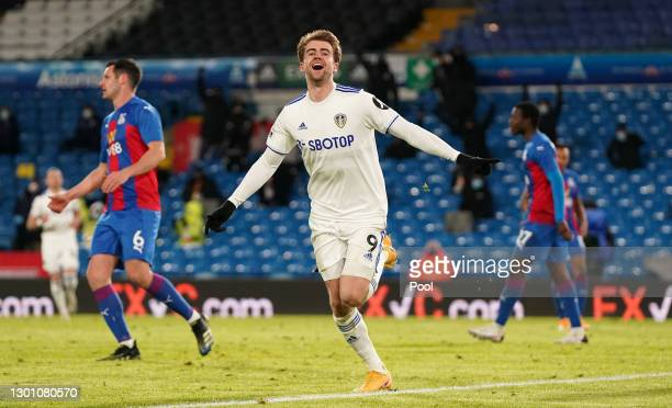 Patrick Bamford of Leeds United celebrates after scoring their team's second goal during the Premier League match between Leeds United and Crystal...