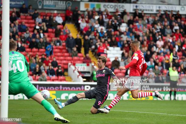 Patrick Bamford of Leeds United has an effort ruled out for offside during the Sky Bet Championship match between Barnsley and Leeds United at...